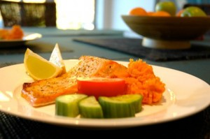 Healthy Salmon Meal - food prepared and photo taken by Ashley Morse